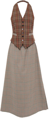 MM6 MAISON MARGIELA Paneled Prince Of Wales Checked Woven Halterneck Midi Dress