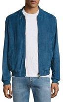 Etro Classic Suede Bomber Jacket, Light Blue