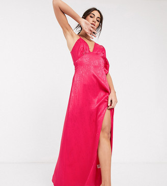 Flounce London asymmetric satin maxi dress in hot pink