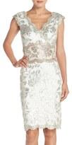 Tadashi Shoji Two-Tone Sequin Lace Sheath Dress
