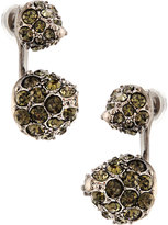 Kenneth Jay Lane Black Crystal Ear Jacket Stud Earrings