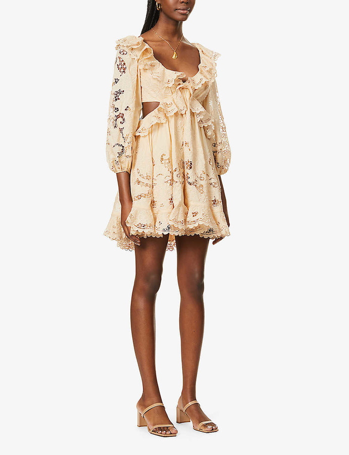 Zimmermann Brighton lace-overlay cotton mini dress