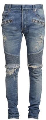 Balmain Slim-Fit Veins Light Jeans