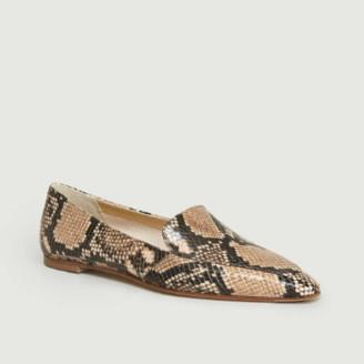 AEYDĒ Natural Aurora Snake Print Loafer Shoes - natural   37 - Natural/Natural