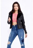 Select Fashion Fashion Fur Collar Bonded Pu Biker Jackets & Coats - size 6