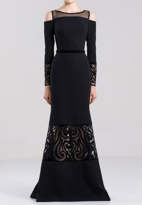Saiid Kobeisy Long Sleeve Cold Shoulder Laser Cut Gown