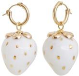 Poporcelain Golden White Porcelain Strawberry Earrings