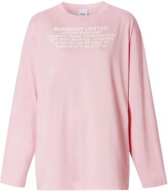 Burberry location coordinates print long-sleeve T-shirt