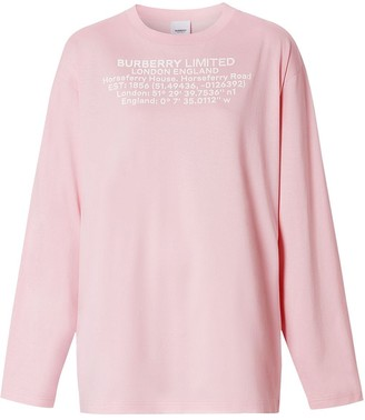 Burberry location coordinates print long-sleeve T-shirt