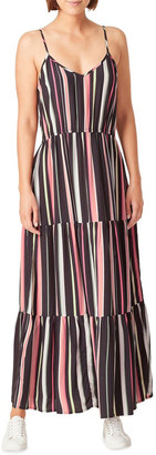 French Connection Rainbow Stripe Tiered Dress Black