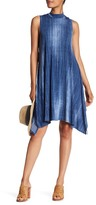 Robbie Bee Mock Neck Chambray Dress