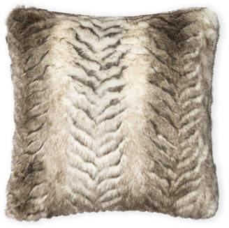 Loloi White & Grey Faux Fur Decorative Pillow