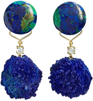 Jan Leslie 18k Bespoke 2-Tier Tribal Luxury Earrings w/ Azurite Malachite, Azurite Druzy & Diamonds