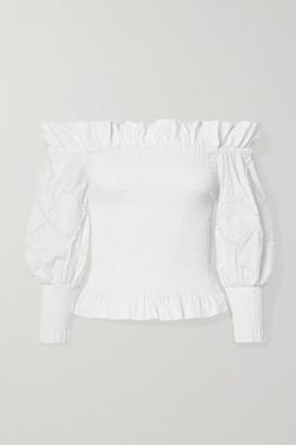 Chufy - Miski Off-the-shoulder Crochet-trimmed Shirred Cotton Top - White