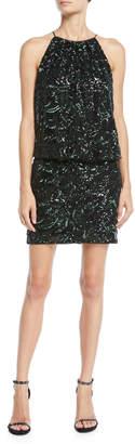 Aidan Mattox Beaded Blouson Halter Mini Dress