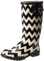 NOMAD Women's Puddles Rain Boot, Black/White Chevron, 10 M US