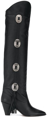 Aquazzura black Go West 70 knee-high studded leather boots