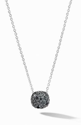 David Yurman Cushion Stud Pendant Necklace in 18K Gold with Pave Diamonds