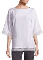 St. John Lace-Trim Stretch Silk Crepe de Chine Top