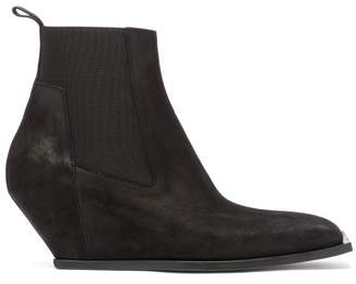 Rick Owens Square Toe Suede Wedge Boots - Mens - Black