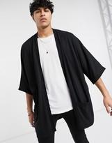 Asos Design ASOS DESIGN extreme longline knitted kimono jacket in black