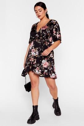 Nasty Gal Womens Wall Flower Plus Wrap Dress - Black