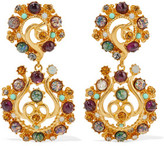 Ben-Amun Gold-Plated Stone And Crystal Clip Earrings