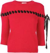 Fendi lace through knit top - women - Cotton/Viscose/Cashmere - 38