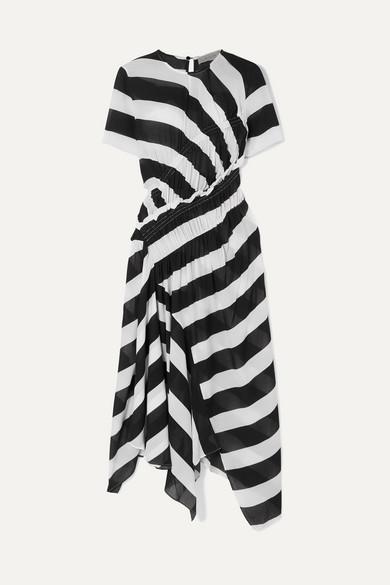Preen Line Sida Asymmetric Ruched Striped Crepe De Chine Midi Dress - Black