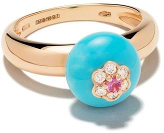 David Morris 18kt rose gold diamond turquoise Berry ring