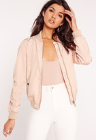 Missguided Lightweight Zipped Sleeve Pocket Bomber Jacket Pink