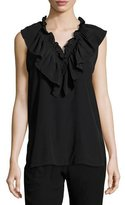 Marni Sleeveless V-Neck Ruffle Blouse, Black