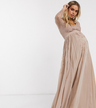 ASOS DESIGN Maternity embroidered pleated mesh detail maxi dress