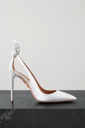 Aquazzura Bow Tie 105 Crystal-embellished Satin Pumps - White