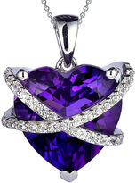 JCPenney FINE JEWELRY Lab-Created Amethyst & White Sapphire Crossover Heart Pendant Necklace in Sterling Silver