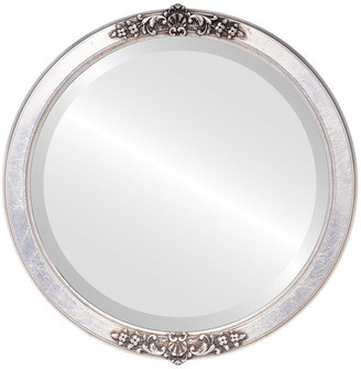 """Athena Framed Round Mirror in Silver Leaf with Brown Antique, 15""""x15"""""""