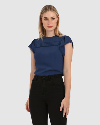 Forcast Women's Navy Shirts & Blouses - Elora Crochet Trim Blouse - Size One Size, 8 at The Iconic