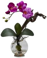 15 in. H Purple Mini Phalaenopsis with Fluted Vase Silk Flower Arrangement