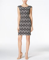 Connected Cap-Sleeve Lace Sheath Dress