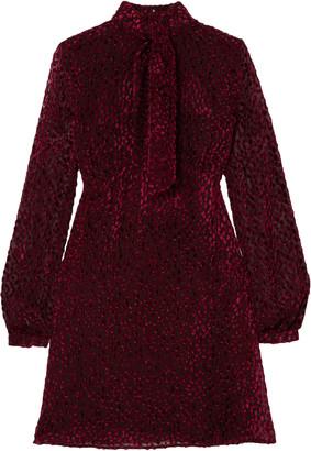 Saint Laurent Pussy-bow Devore-chiffon Mini Dress