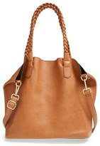 Street Level Junior Women's Slouchy Faux Leather Tote With Pouch - Brown