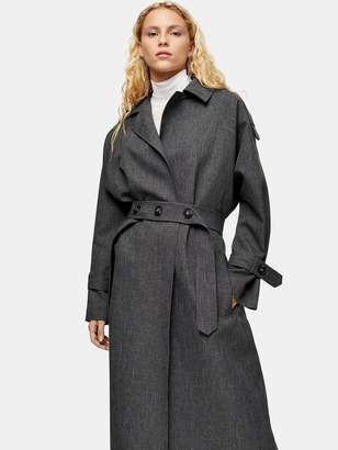 Topshop Belted Trench Coat - Grey