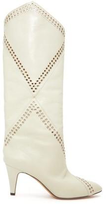 Isabel Marant Lahia Eyelet-embellished Leather Boots - White