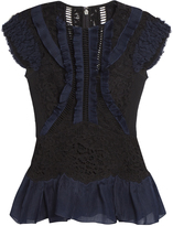 Rebecca Taylor Contrast-panel lace-insert peplum top