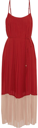 Zimmermann Pleated Two-tone Crepe De Chine Midi Dress