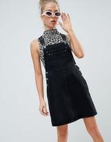 Asos Design DESIGN denim overall dress in washed black