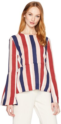 BCBGMAXAZRIA Women's Jeanne Striped Woven Bell Sleeved Top
