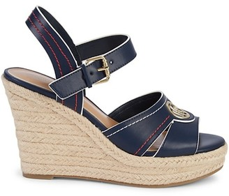 Tommy Hilfiger Faux Leather Espadrille Wedge Sandals