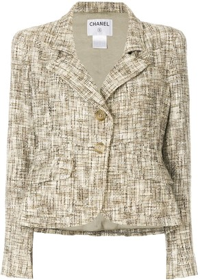 Chanel Pre Owned Tweed Effect Blazer