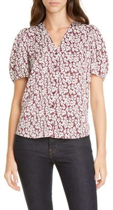 Nordstrom Signature Floral Puff Sleeve Stretch Silk Top